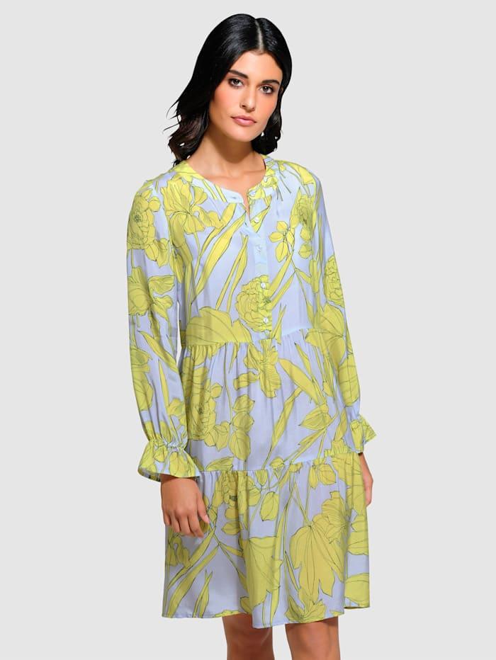 Alba Moda Kleid aus fließender Webware, Blau/Limettengrün