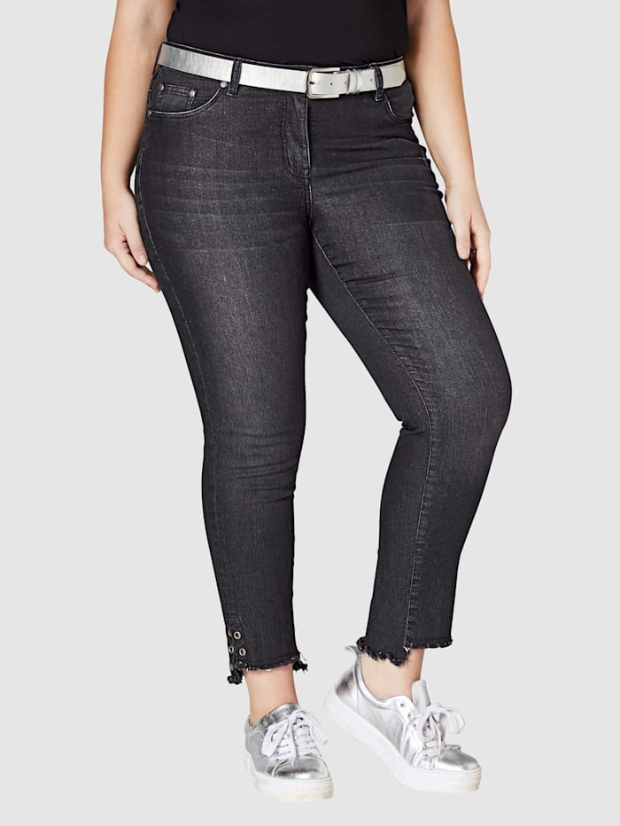 Angel of Style Jeans med frynser og maljer på benkanten, Black stone