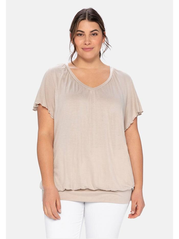 Sheego T-Shirt mit Flügelärmeln, beigefarben