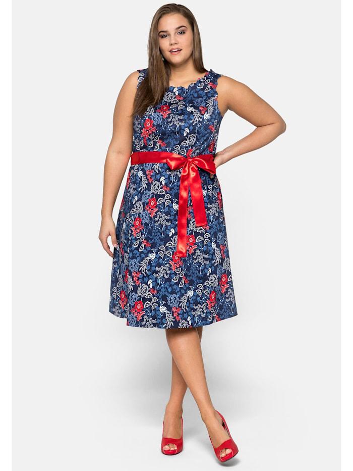 sheego by Joe Browns Kleid aus Baumwollsatin mit Blumendruck, marine bedruckt
