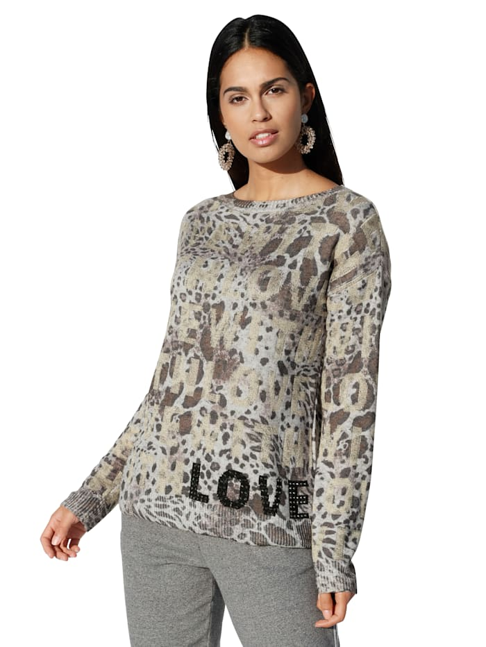 Betty Barclay Pullover mit Animal-Print, Grau/Camel