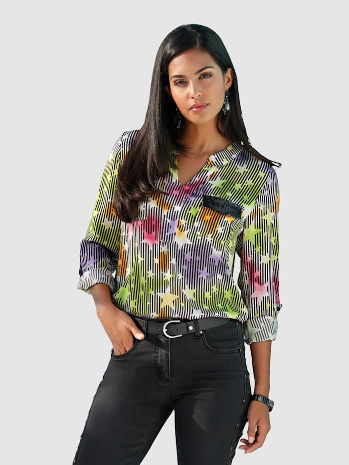 AMY VERMONT Bluse in buntem Streifen- und Sternendruck, Multicolor