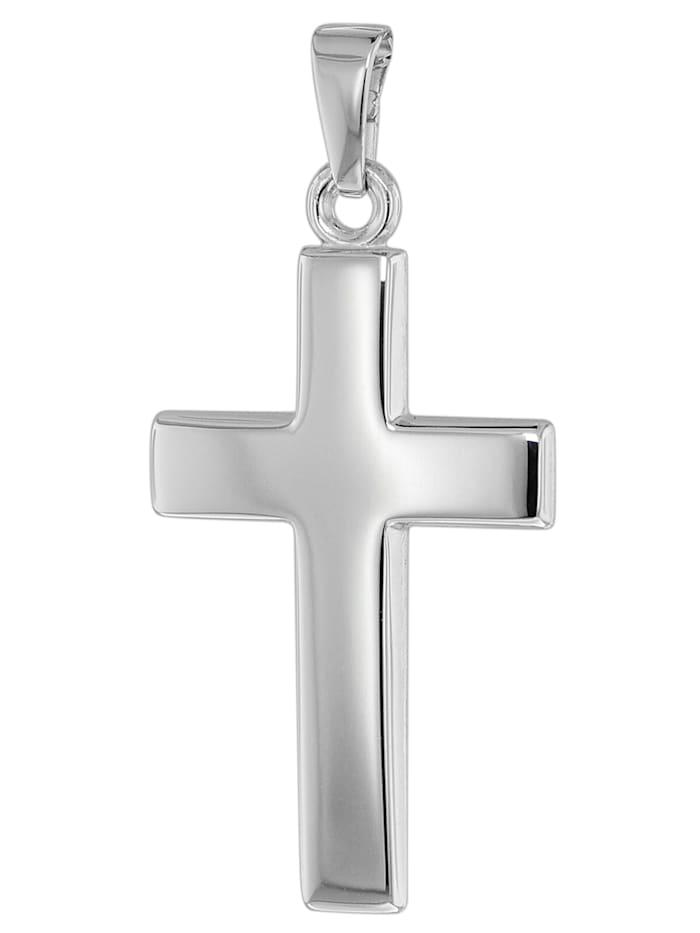 trendor Kreuz-Anhänger 25 mm Weißgold 585 / 14K, Silberfarben