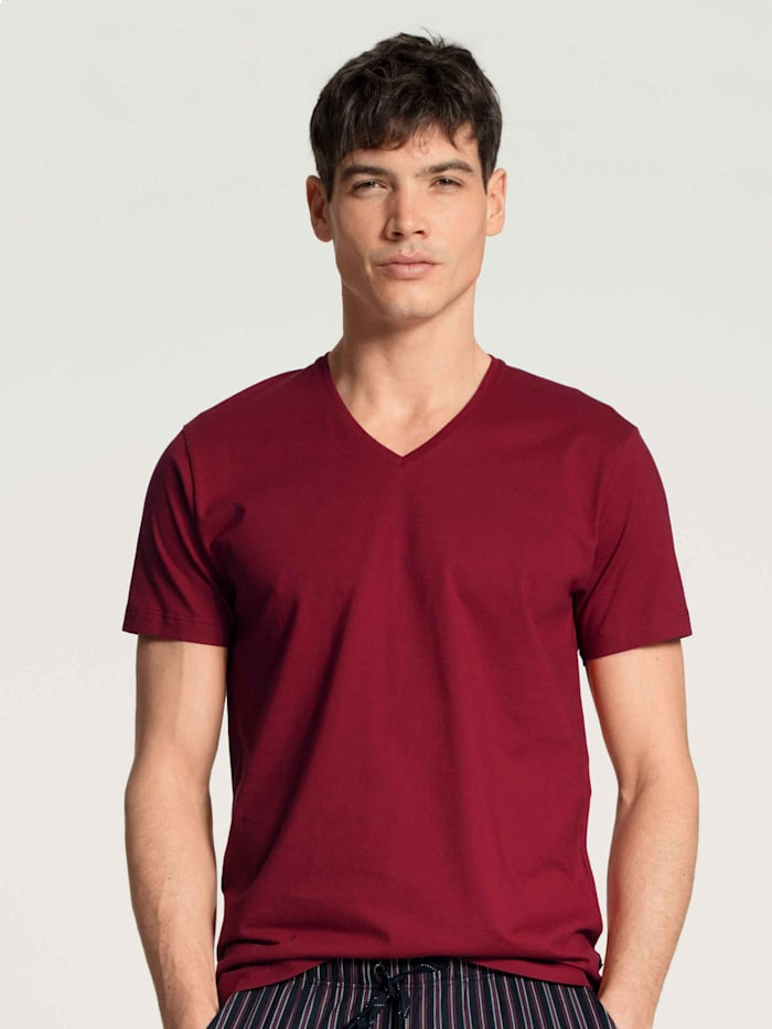 Calida T-Shirt, V-Neck STANDARD 100 by OEKO-TEX zertifiziert, rumba red