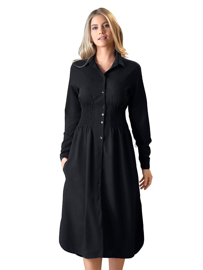 Kleid mit breitem Smokeinsatz in der Taille