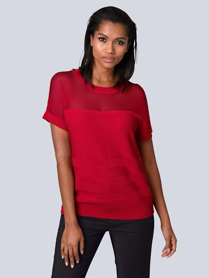 Alba Moda Pullover mit modischem Mesh-Einsatz, Rot