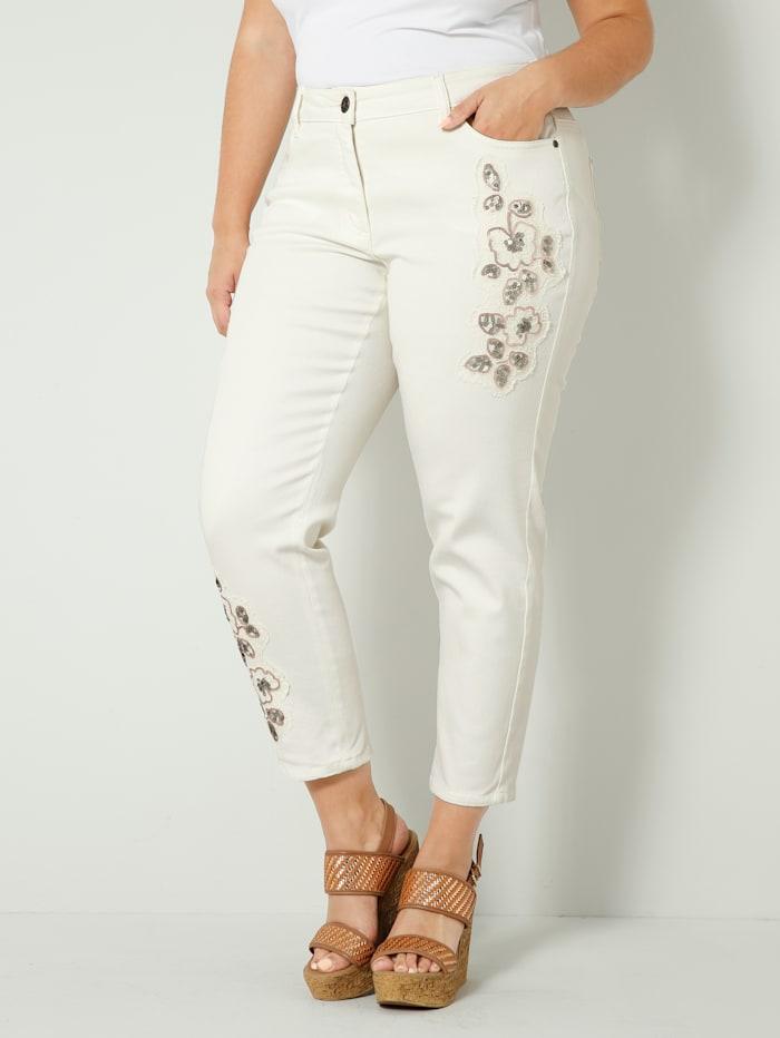 Sara Lindholm Jeans med blommiga applikationer, Offwhite