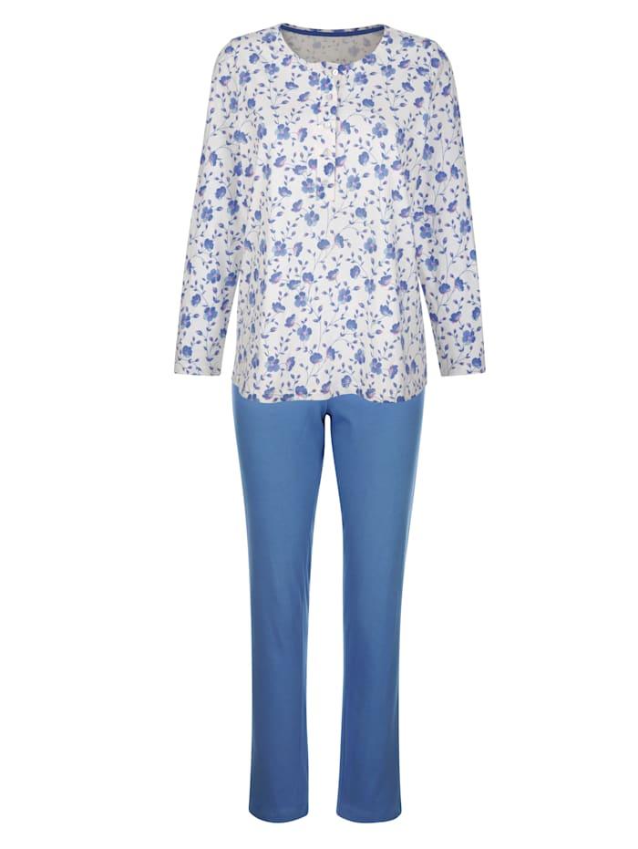 Harmony Pyjama met leuke bloemenprint, Ecru/Donkerblauw/Fuchsia