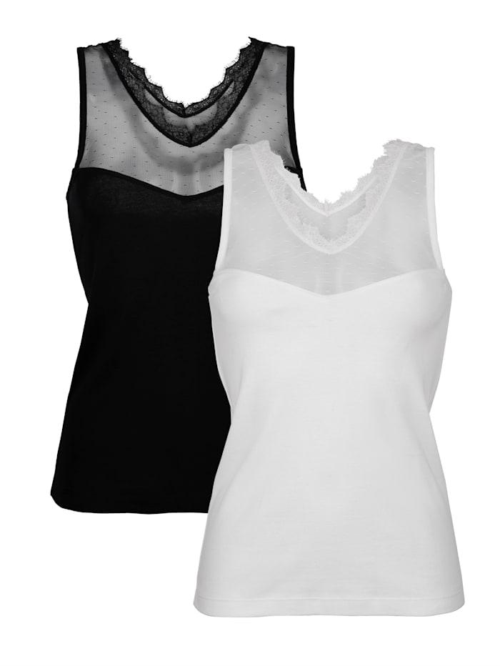 Hemdchen mit Tülleinsätzen vorne und hinten 2er Pack