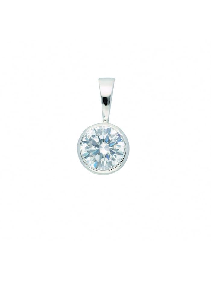 1001 Diamonds Damen Silberschmuck 925 Silber Anhänger mit Zirkonia Ø 6,5 mm, silber
