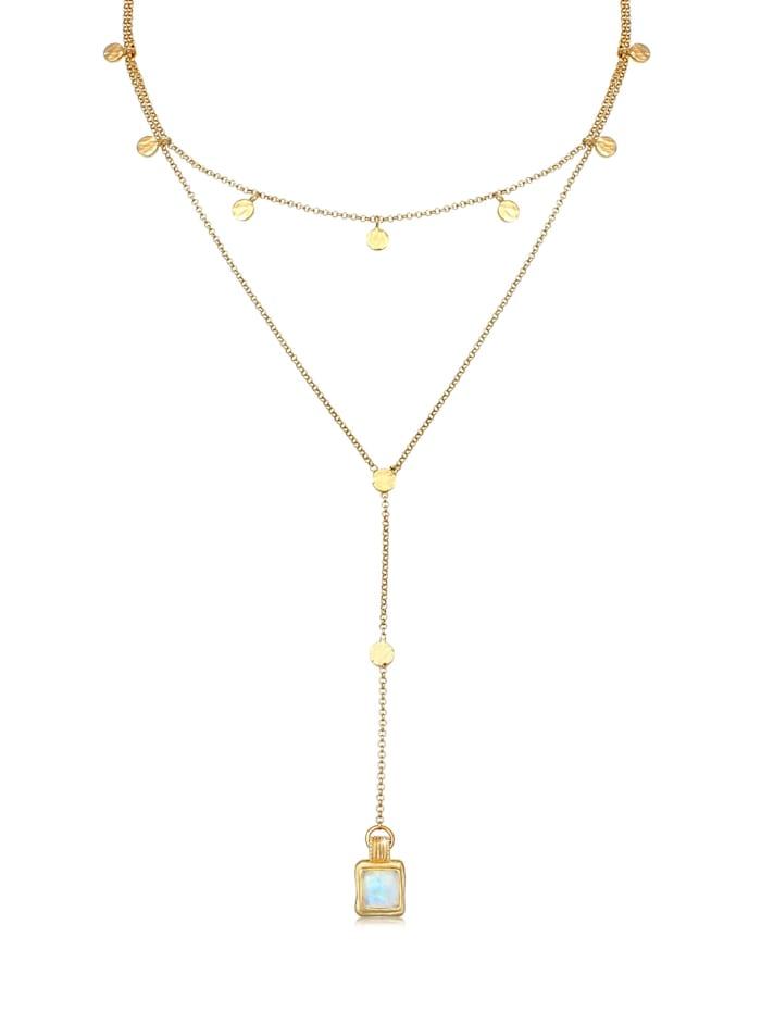 Elli Premium Halskette Set Choker Y-Kette Mondstein Plättchen 925 Silber, Gold