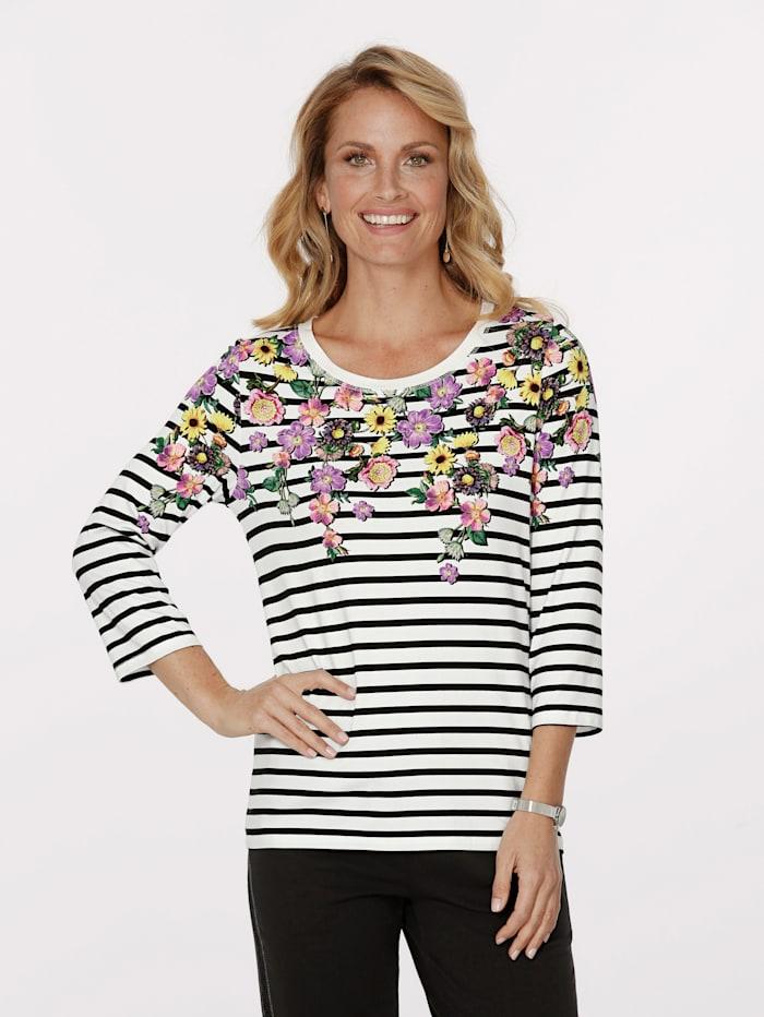 MONA Shirt mit platziertem Blütenmotiv, Weiß/Schwarz/Multicolor