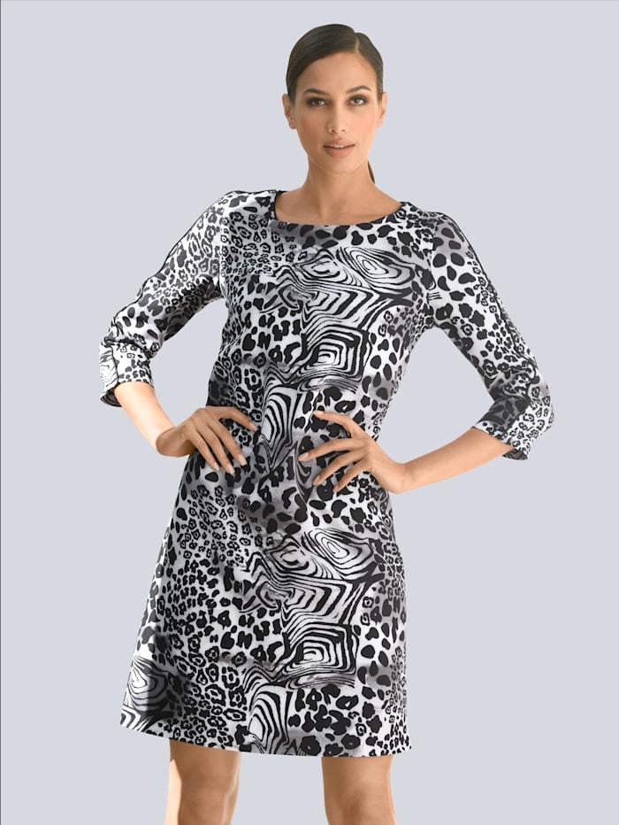 Alba Moda Kleid mit Animalprint, Schwarz/Grau/Weiß