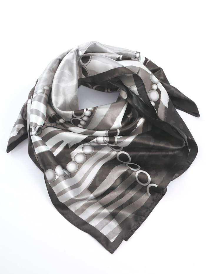 Alba Moda Schal mit Seidesatin-Touch, schwarz/grau