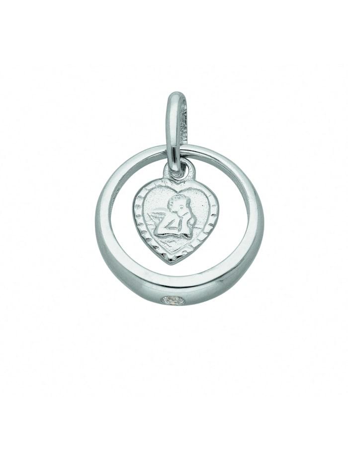 1001 Diamonds Damen Silberschmuck 925 Silber Anhänger Taufring mit Zirkonia Ø 10,7 mm, silber