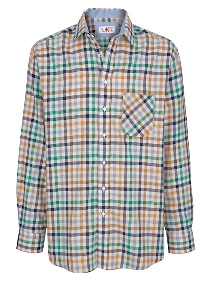 Roger Kent Overhemd met zachte touch, Groen/Bruin/Marine