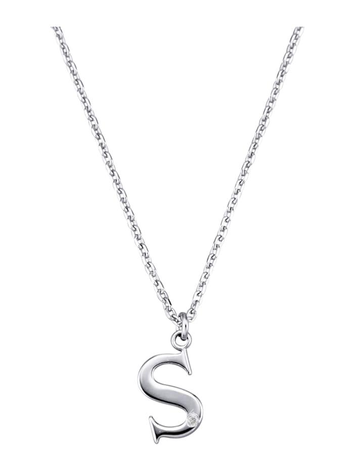 Buchstaben-Collier S mit Diamant, Silberfarben