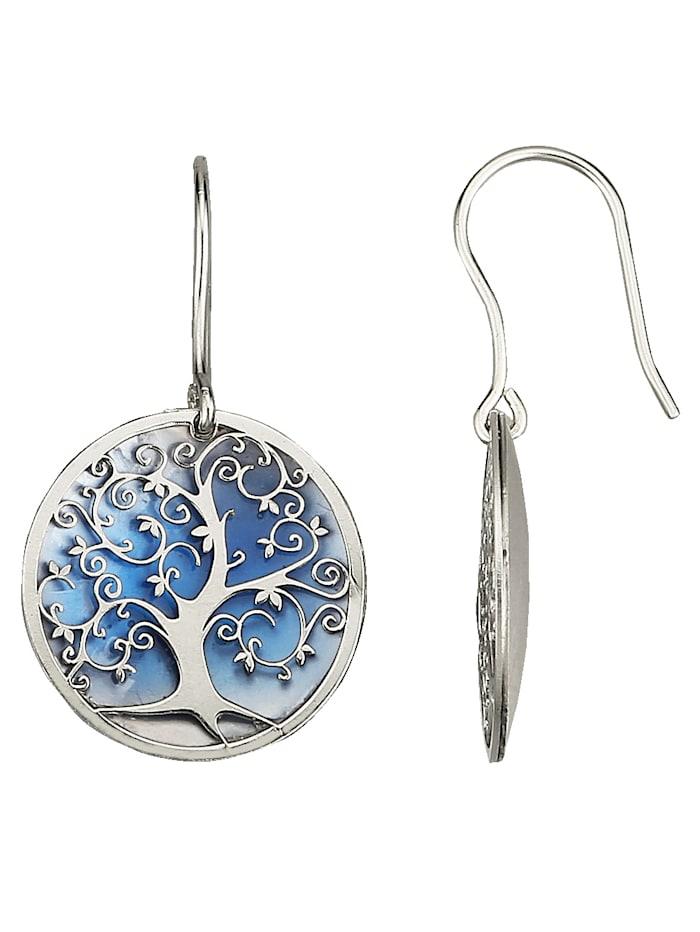 Lebensbaum-Ohrhaken in Silber 925, Blau