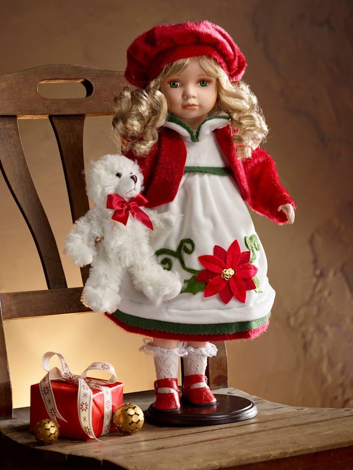 Reinart Faelens Kunstgewerbe Deko-Puppe 'Weihnachtsstern', Creme/Rot