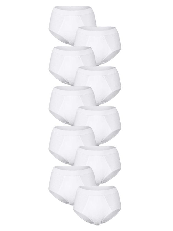 Simone Culottes par lot de 10 à effet ventre plat, Blanc