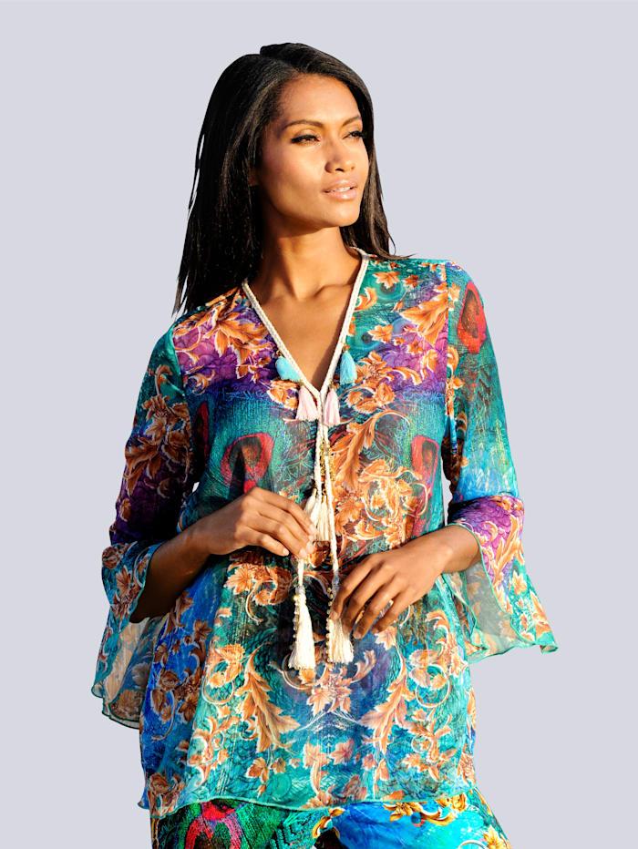 Alba Moda Tunique avec pompon, Multicolore