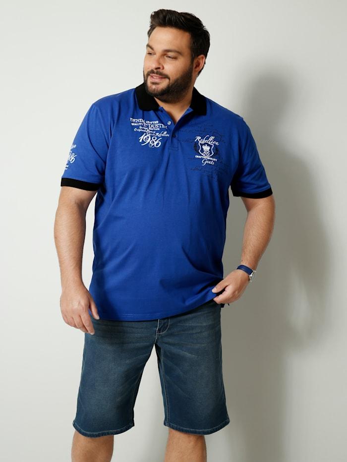 Men Plus Poloshirt van zuiver katoen, Blauw/Wit