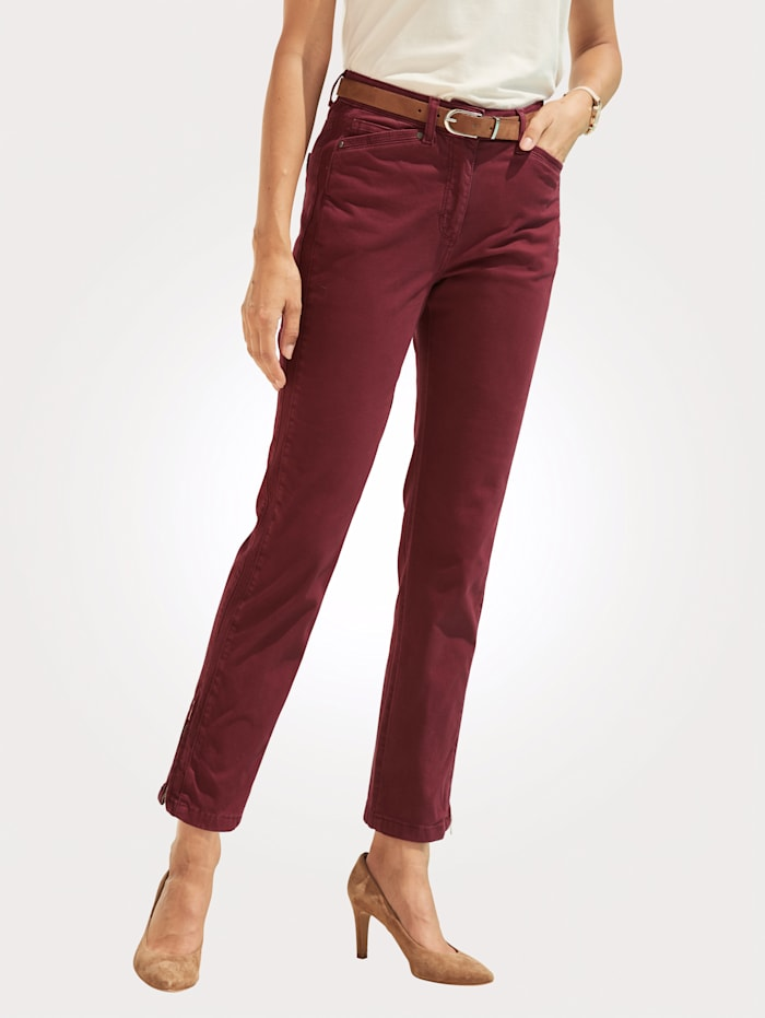 MONA Trousers with chic stitched detailing, Bordeaux