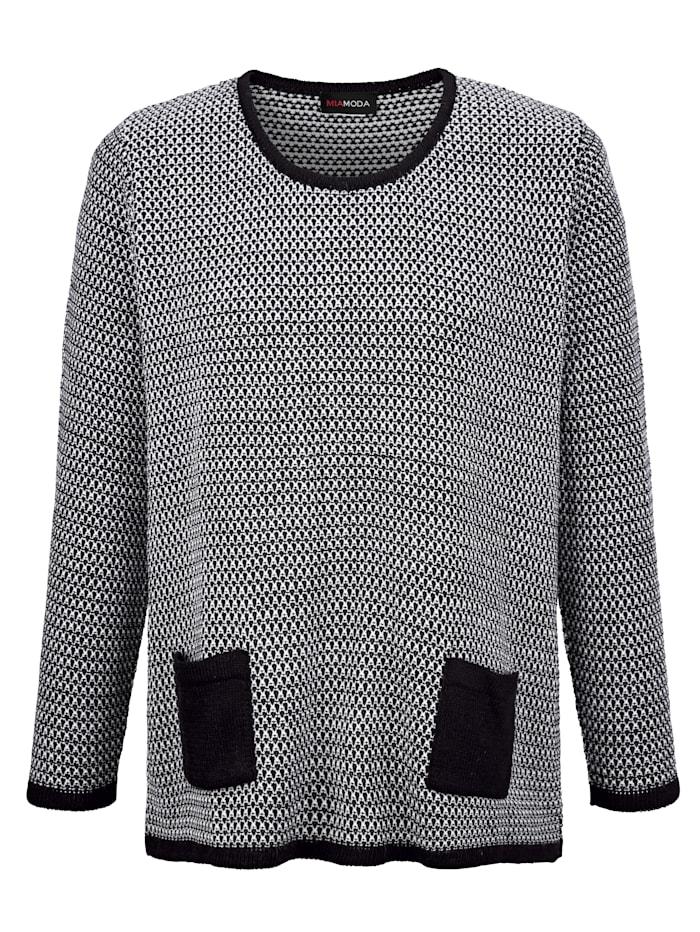 Pullover aus zweifarbigem Strickmuster