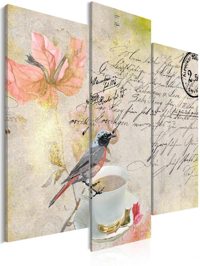 artgeist Wandbild Letter from the past, Schwarz,Grau,rosa,Weiß