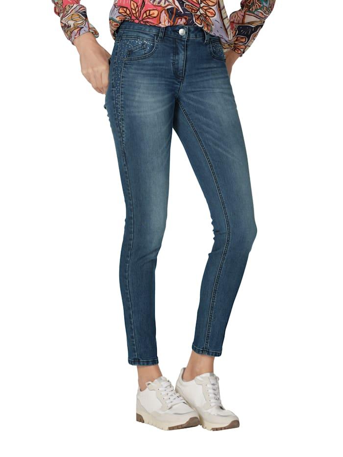 AMY VERMONT Jeans mit Strassstein-Verzierung, Blue bleached