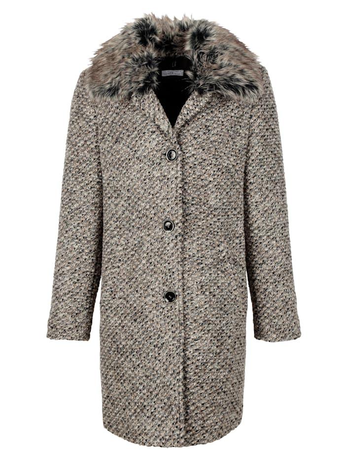 Manteau laine à col fourrure synthétique