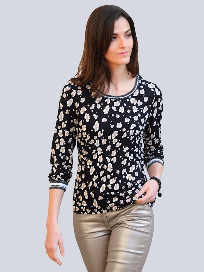 Alba Moda Shirt im exklusivem Dessin von Alba Moda, Schwarz/Off-white/Taupe