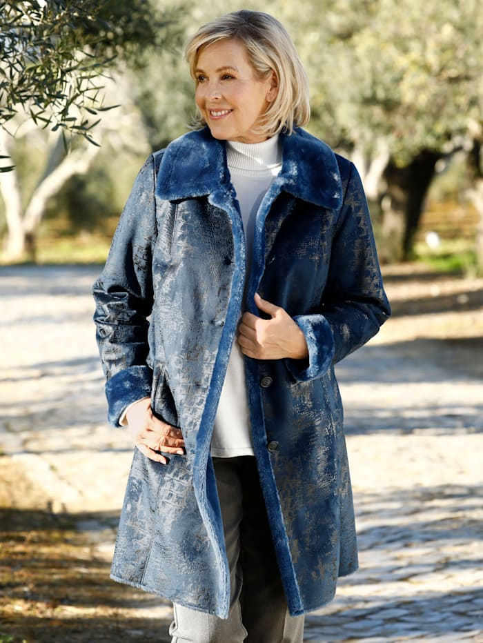 m. collection Imitatieleren jas van zacht imitatievacht binnenin, Marine