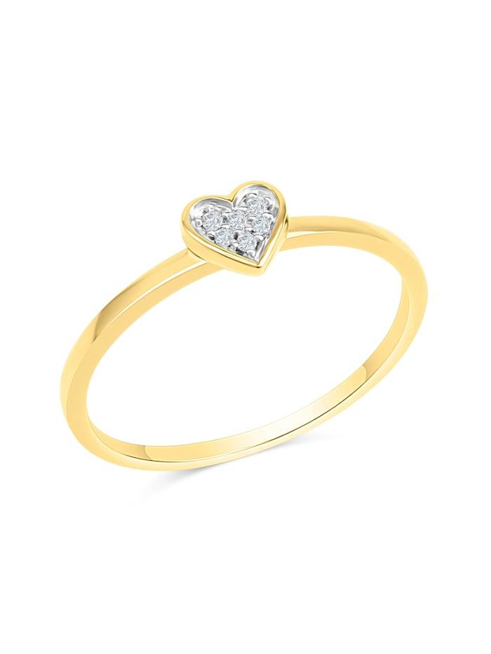 Diamonds by Ellen K. Ring 585/- Gold Brillant weiß Diamant Glänzend 0,025ct., gelb