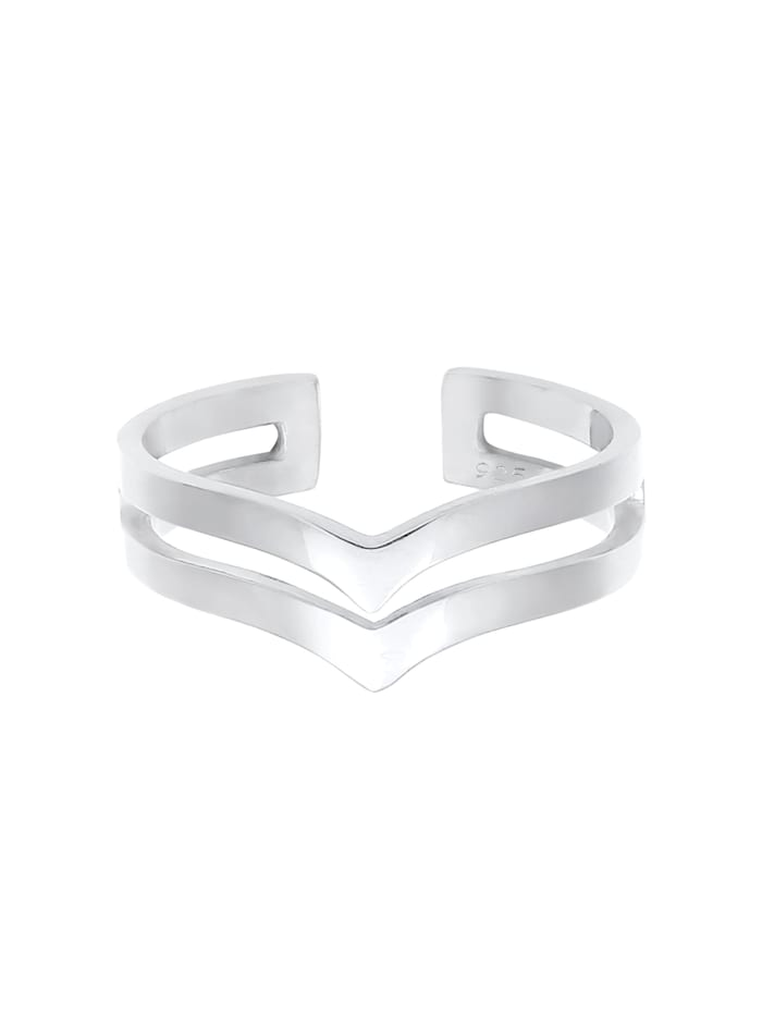 Ring V-Form Geo Winkel Basic Glanz 925 Silber