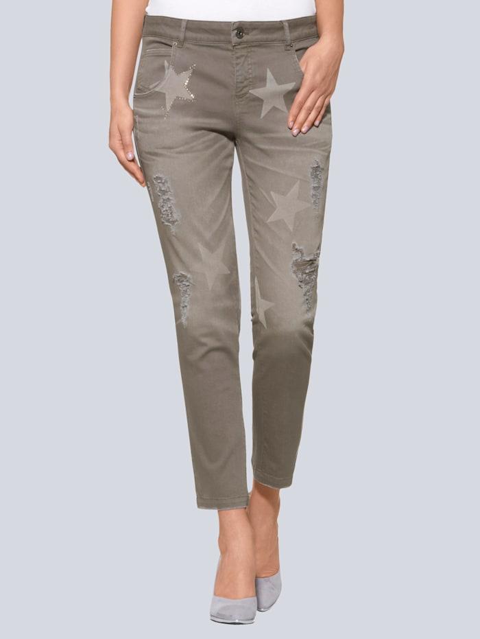 Alba Moda Jeans mit Sternenprint, Taupe