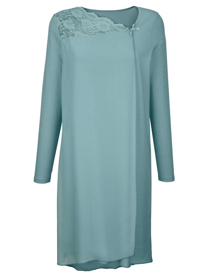 Simone Nachthemd mit elegantem Chiffonvolant, Mintgrün