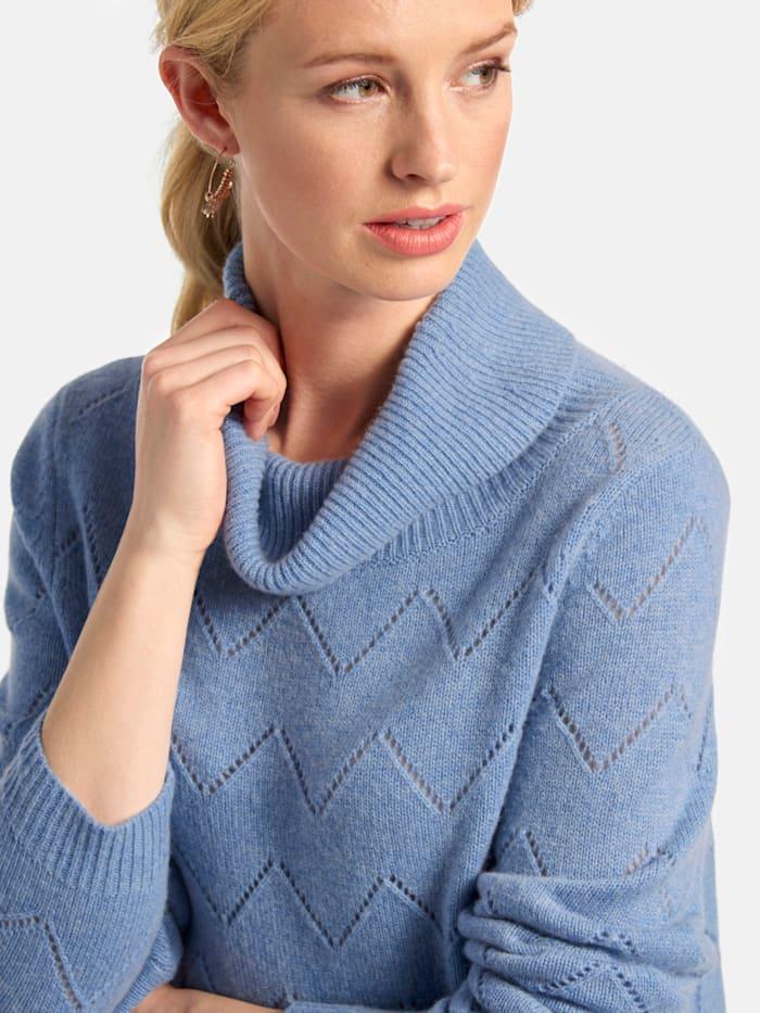 Pullover mit Rollkragen und Ajour-Strick