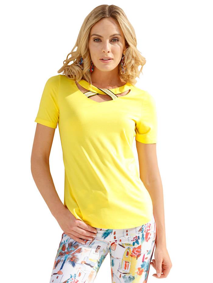 AMY VERMONT Shirt mit Zierband, Gelb