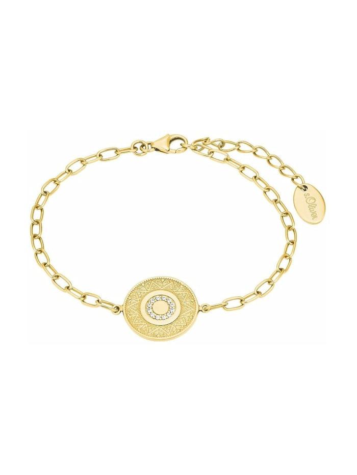 """s.Oliver Armband für Damen, """"Münze"""", 925 Sterling Silber vergoldet, Gold"""