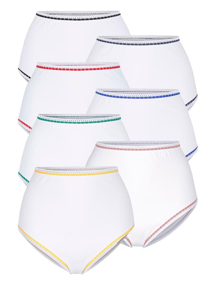 Harmony Taillenslips im 7er-Pack mit kontrastfarbener Zierlitze, Weiß