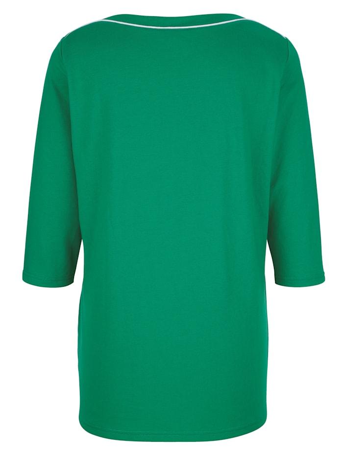 Shirt mit Paspel am Ausschnitt