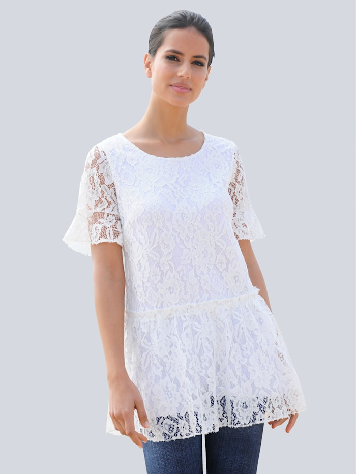 Alba Moda Strandshirt mit Volant, Weiß