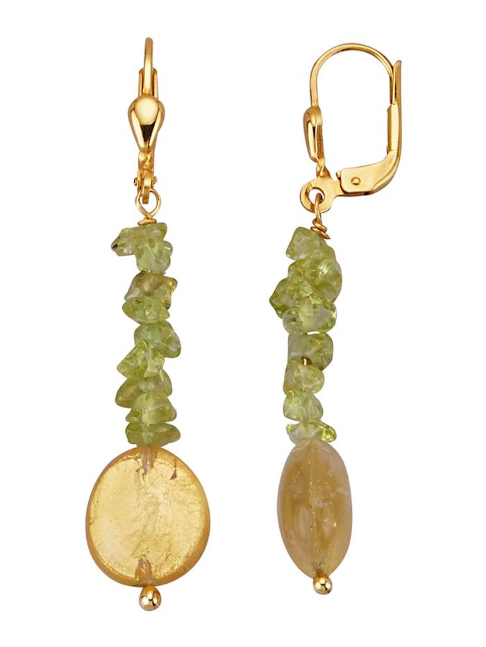 Amara Pierres colorées Boucles d'oreilles avec pierre d'ambre et feuille dorée, Vert
