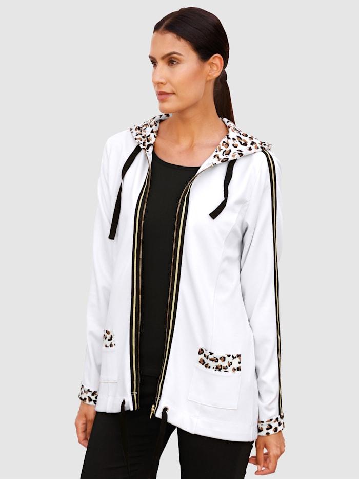 Laura Kent Sweatshirtjacka med leopardmönstrade detaljer, Vit