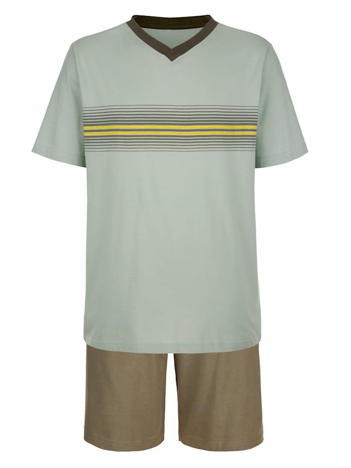 Krátke pyžamo s prúžkami z farbených vlákien