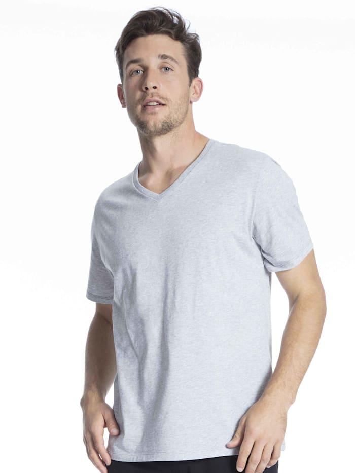 Schiesser Kurzarm-Shirt mit V-Ausschnitt STANDARD 100 by OEKO-TEX zertifiziert, Grau-Melange