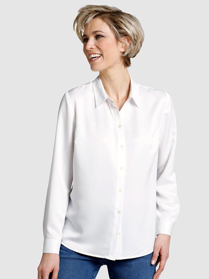 Dress In Blouse van satijn, Wit