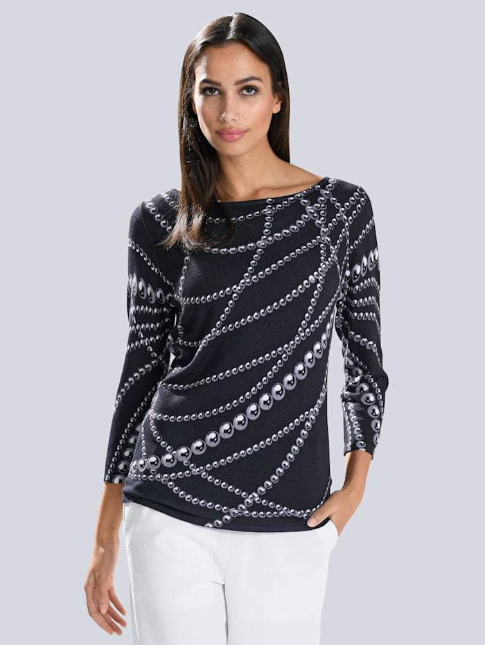Alba Moda Pullover mit exklusivem Alba Moda Print, Marineblau/Weiß