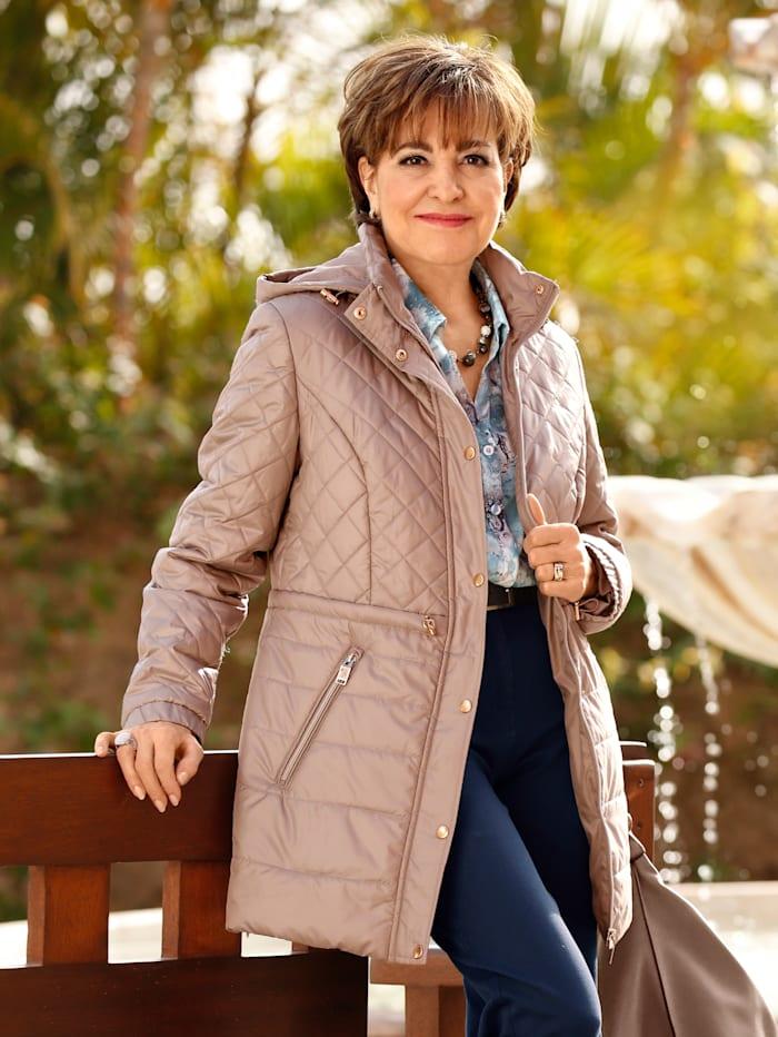 Paola Gewatteerde jas met afneembare capuchon, Taupe